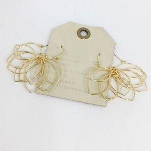 NWT Anthropologie Golden Floral Hoop Earrings